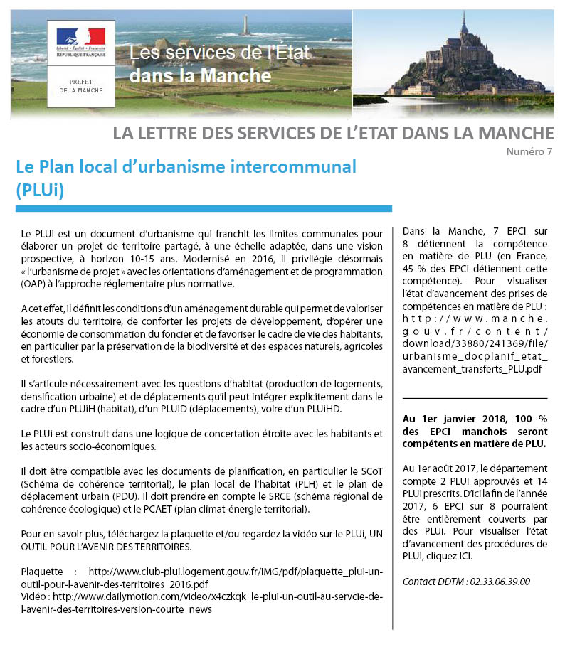 La lettre de l'Etat n°7 - Le plan local d'urbanisme intercommunal