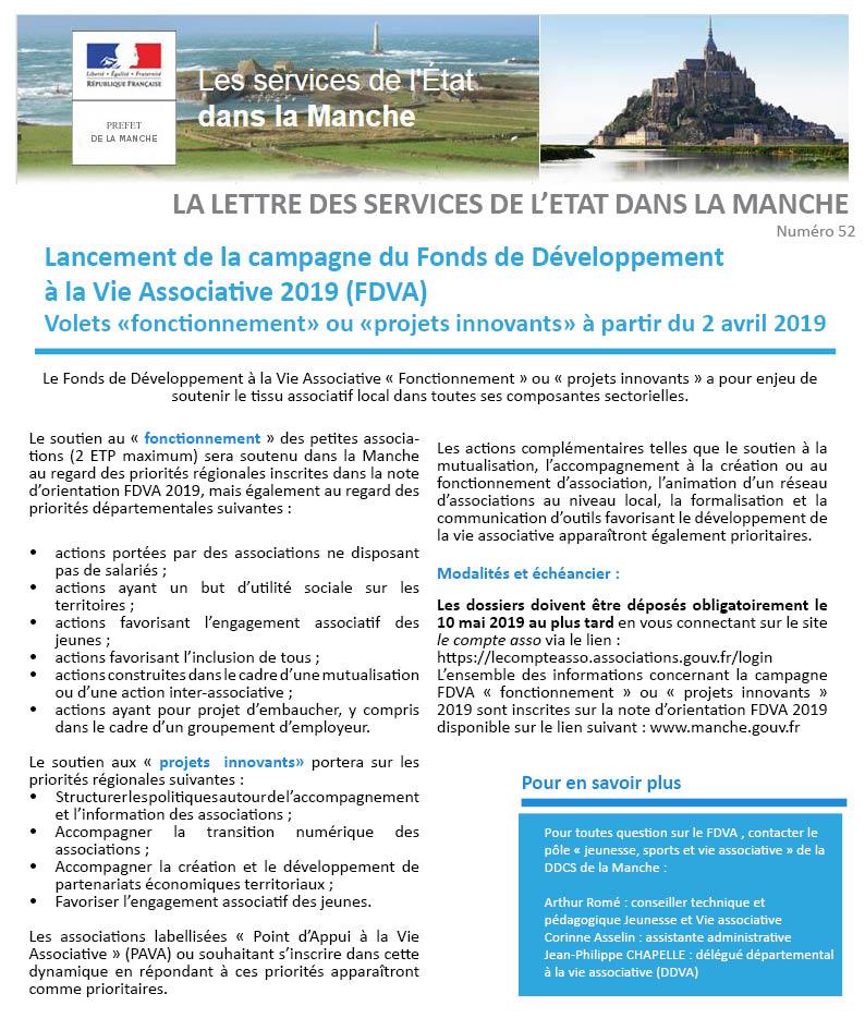 Lettre De L Etat N 52 Le Lancement De La Campagne Du Fdva
