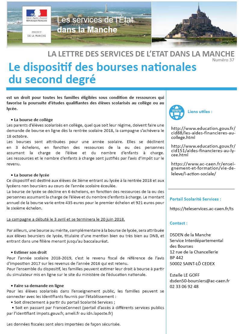 Lettre De L Etat N 37 Le Dispositif Des Bourses Nationales Du